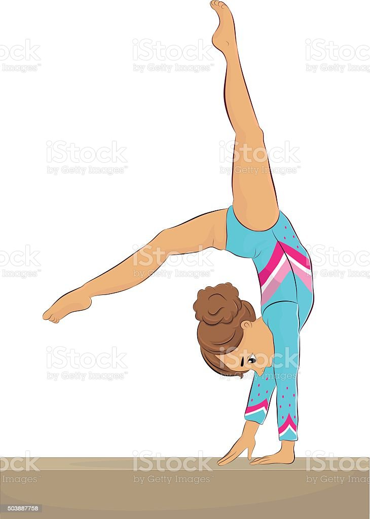 Jeune femme gymnaste Performing sur Poutre, dos Walkover - Illustration vectorielle