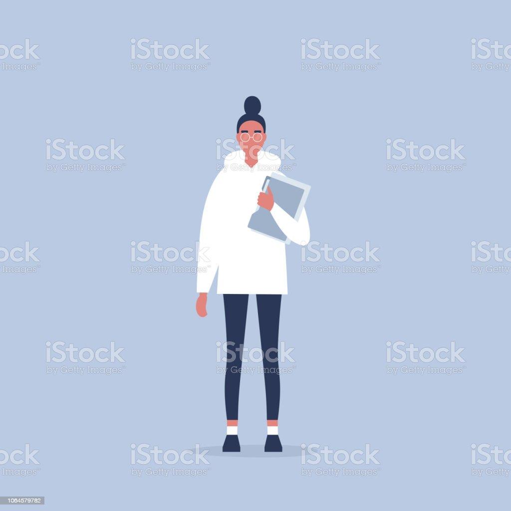 eef496275 Gerente mujer joven sosteniendo una carpeta. Vida de oficina. Rutina  diaria. Millennials en