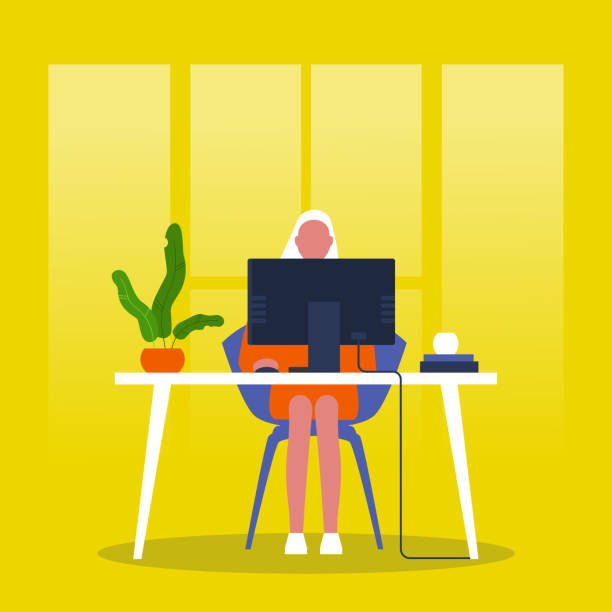 Jonge vrouwelijke manager die voor de monitor zit. Modern kantoor. Millennials op het werk. Bedrijfsproces. Platte bewerkbare vector illustratie, clip artvectorkunst illustratie
