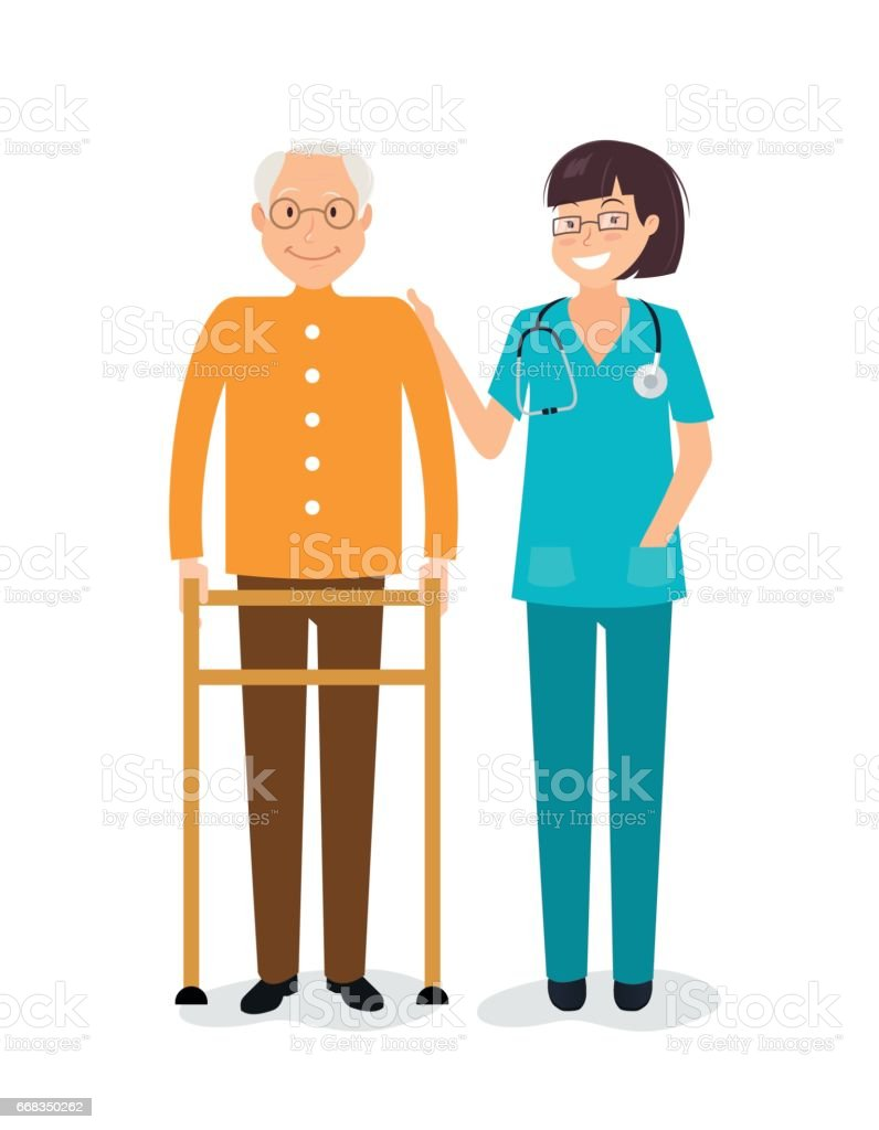 Young female nurse helping senior man to use walking frame. vector art illustration