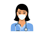 Young woman in blue nurse's scrubs wearing protective medical face mask and a stethoscope ready for work