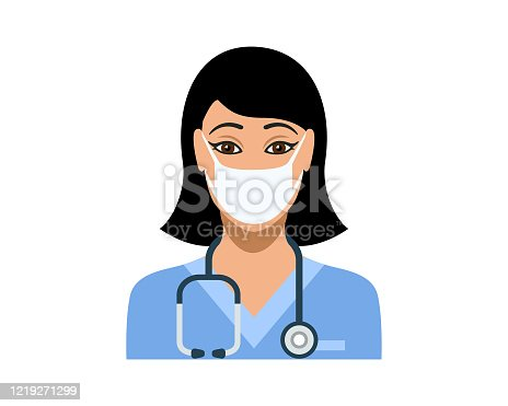 istock Young female nurse wearing protective medical face mask 1219271299
