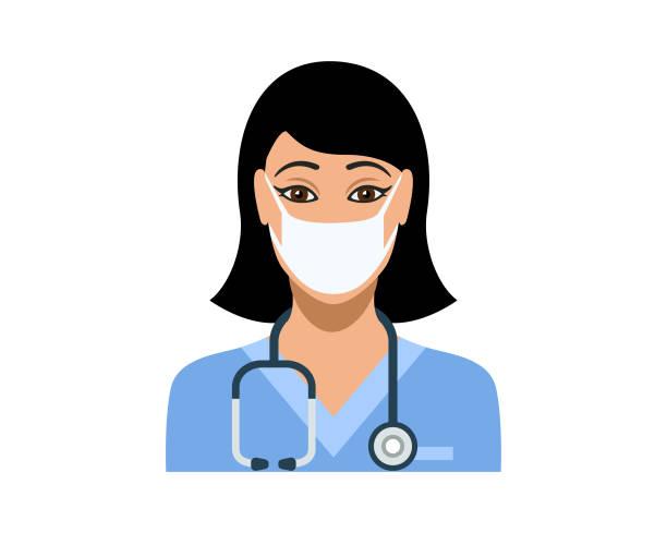 ilustrações, clipart, desenhos animados e ícones de jovem enfermeira usando máscara facial médica protetora - enfermeira