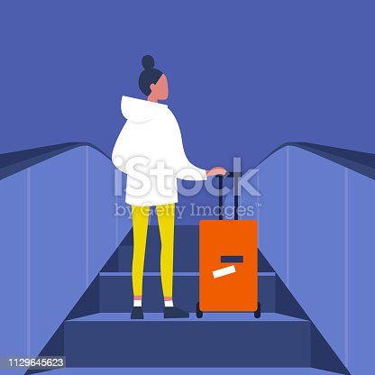 Young female passenger going up on the escalator with the baggage. Airport. Subway station. Travel. Flat editable vector illustration, clip art