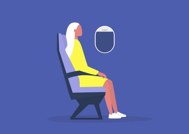 uçakta oturan genç kadın yolcu, seyahat konsepti, bin yıllık yaşam tarzı - airplane seat stock illustrations