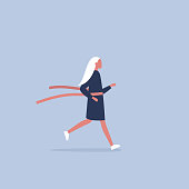 Young female running character crossing the finish line. Red ribbon. Race. Competition. Flat editable vector illustration, clip art
