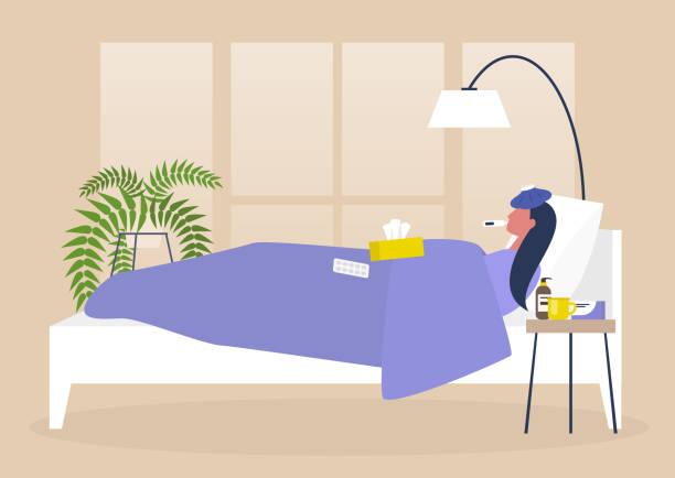 молодая больная героиня отдыхает в постели, интерьере спальни, карантине, лечении - болезнь stock illustrations