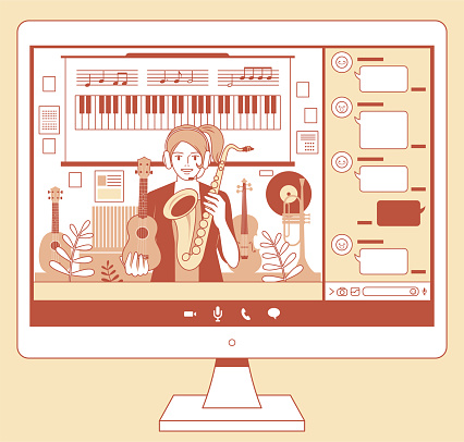 Young female teacher (musician, streamer) teaching online courses on a computer monitor, e-learning concept