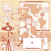 Vector line art illustration.\nYoung female teacher with headphones is remotely teaching geography (online class) using laptop and camera and whiteboard and globe at home (classroom or office), e-learning and telecommuting concept.