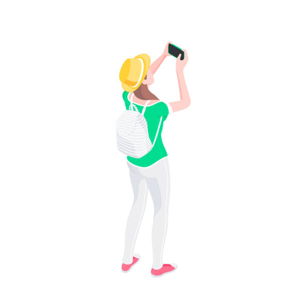 young female tourist taking picture with smartphone - tourist stock illustrations