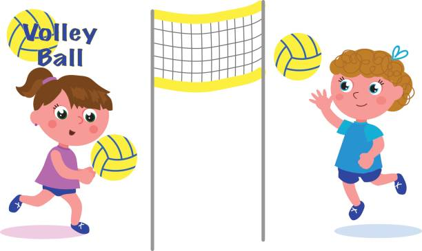 Young female volley players vector vector art illustration