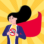 Young female woman girl tears shirt and show t-shirt with no smoking sign icon flat style design vector illustration isolated white background. Concept super girl hero No smoking girl pop art template