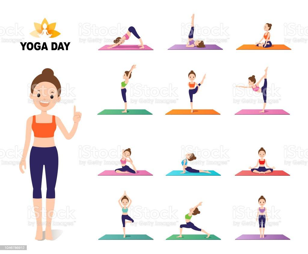 Young female yoga instructor pose set. Vector Illustration.
