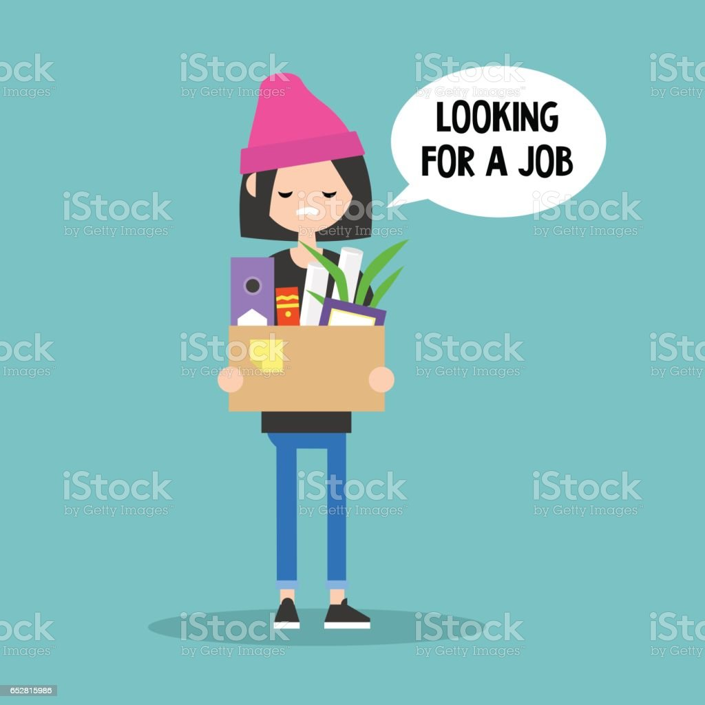 Young fired girl holding a box full of office stationery goods vector art illustration