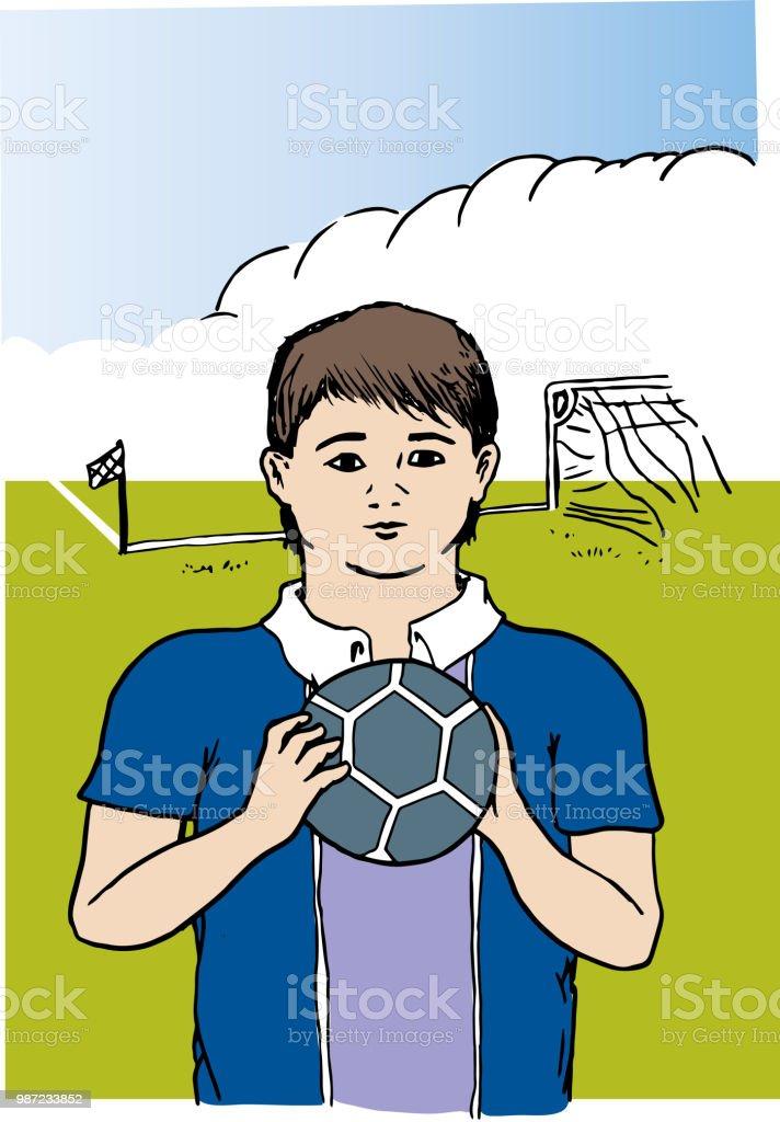 Genç futbolcu. vektör sanat illüstrasyonu