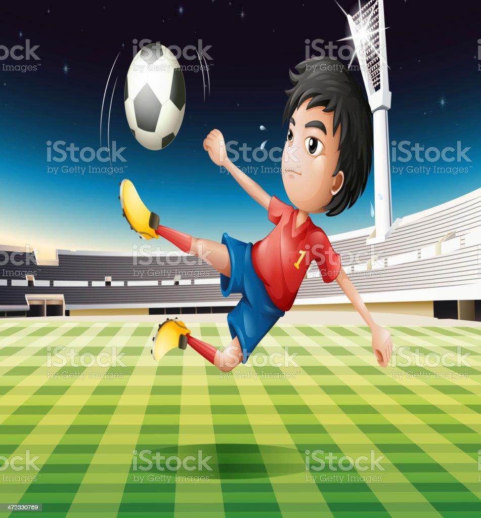 Junge Fußball-Spieler mit einem roten Outfit – Vektorgrafik