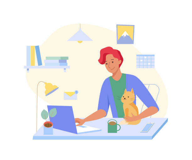 young freelancer man working at home with cat at his laptop. home office interior. vector illustration - working from home stock illustrations