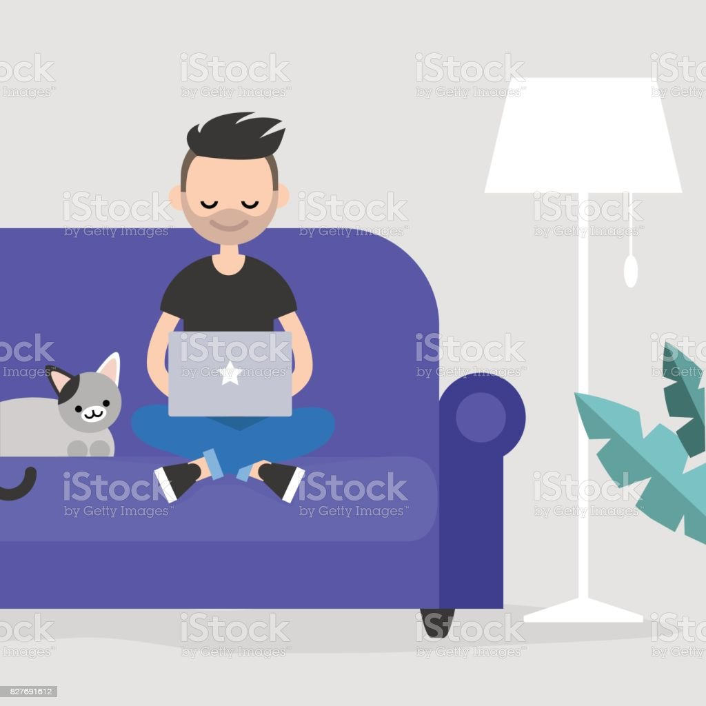 Joven freelance trabajo ilustración vectorial editable en casa / piso, Prediseñadas - ilustración de arte vectorial