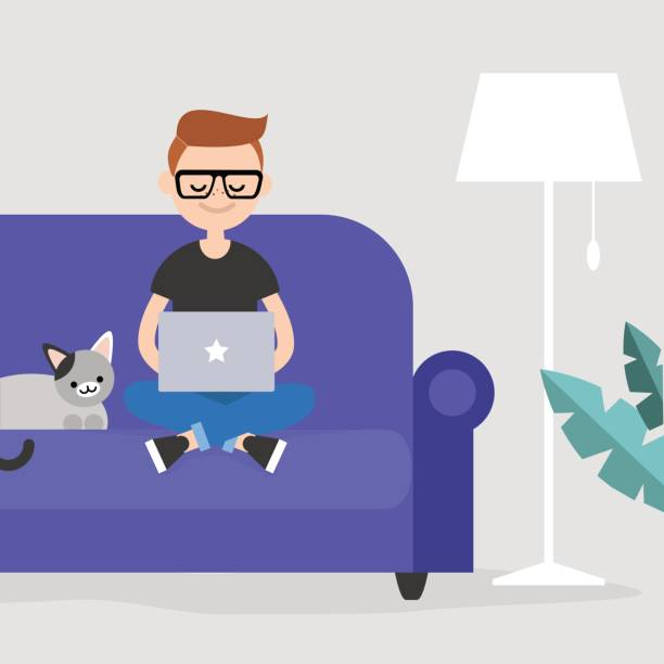 young freelancer working at home / flat editable vector illustration, clip art - telecommuting stock illustrations, clip art, cartoons, & icons