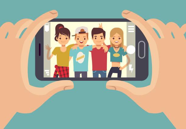 年輕的朋友們青少年與智慧手機拍照。友誼向量的概念 - 畫畫 動態活動 幅插畫檔、美工圖案、卡通及圖標