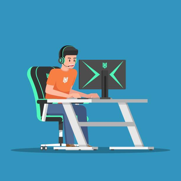 Young gamer playing game on desktop computer with gaming gear vector art illustration