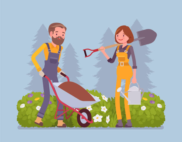 Young gardeners working Young gardeners working. Happy man and woman in a green garden with wheelchair, spade, growing and taking care of plants, cultivates homegrown flowers, veggies. Vector flat style cartoon illustration gardening stock illustrations