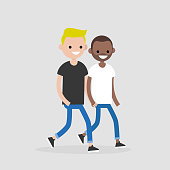 Young gay couple walking and holding hands. LGBT. Romantic relationships. Love. Flat editable vector illustration, clip art