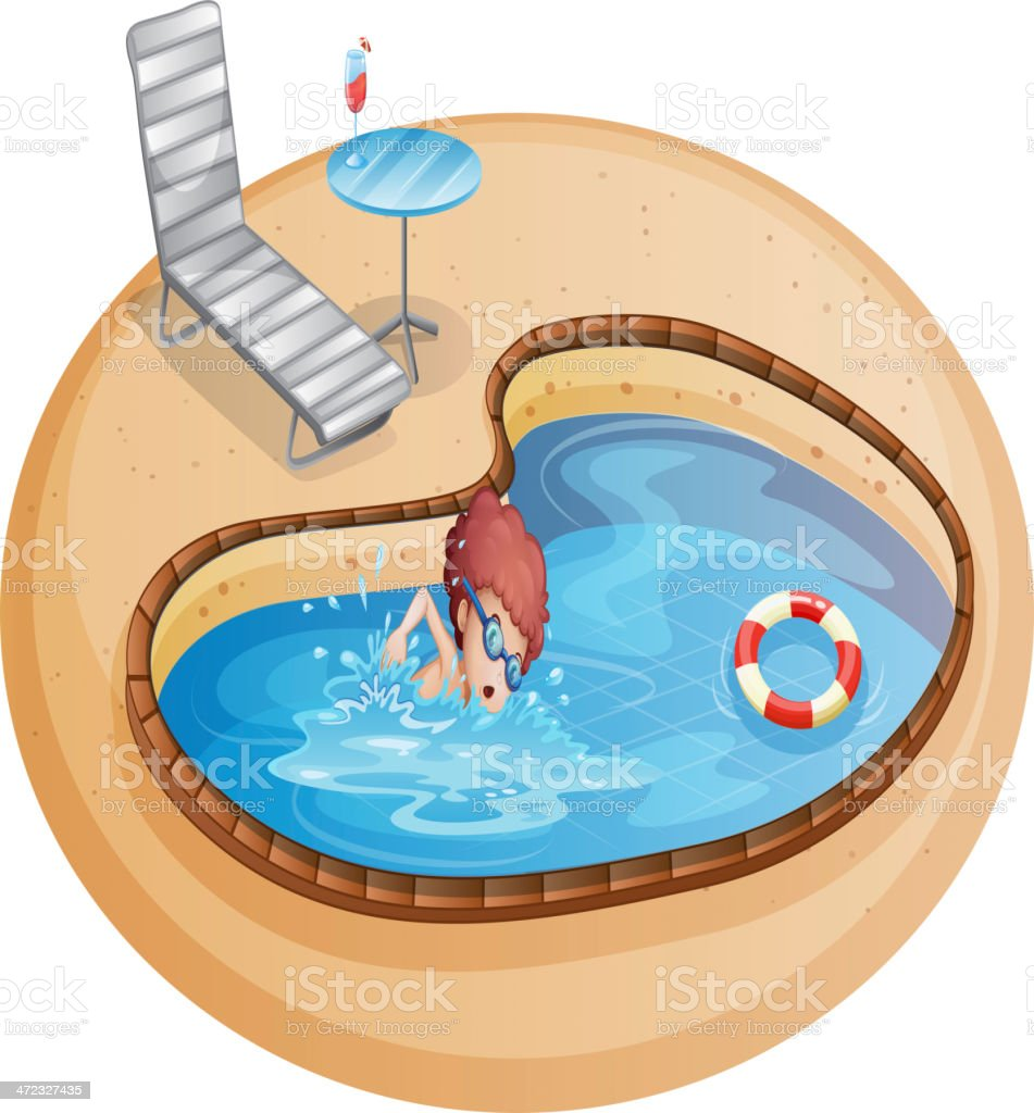 Young gentleman practicing at the pool royalty-free stock vector art