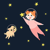 Young girl with her dog in space, wearing spacesuit helmets and pajama. Child is holding star in hand. Happy kid and her pet pug are flying to the stars. Illustration for child book or postcard
