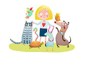 Fun colorful cartoon with small girl and domestic animals. Vector illustration.
