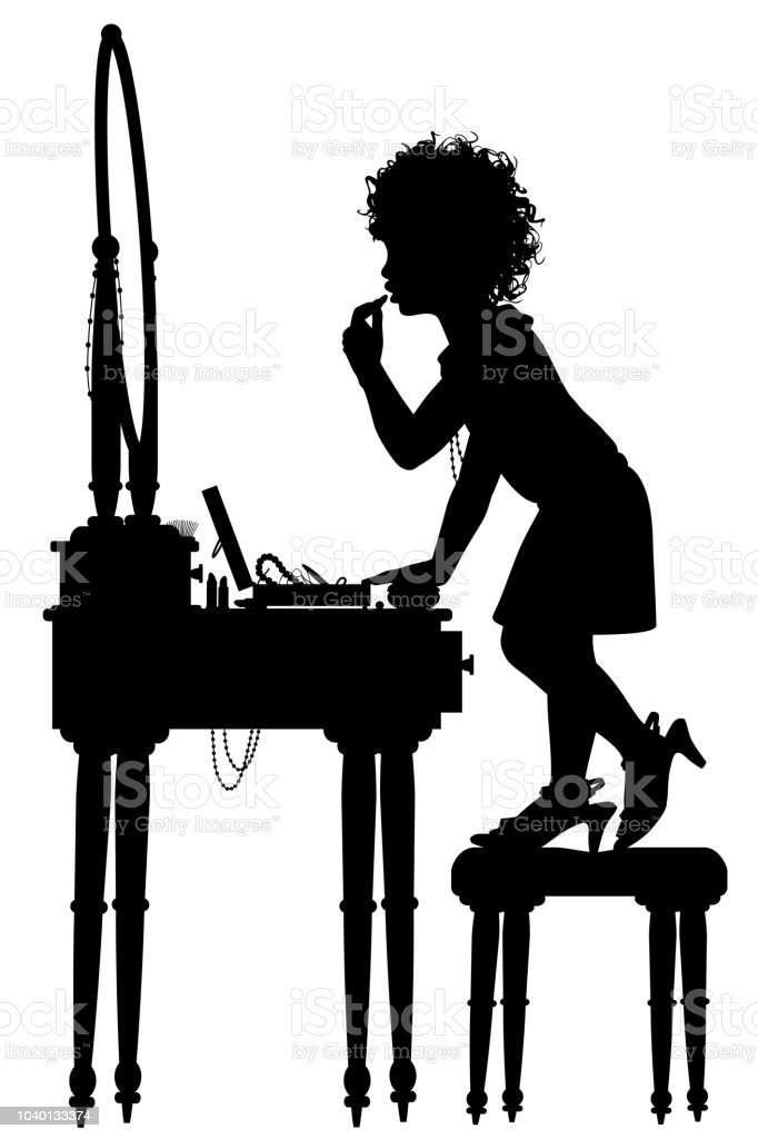 Young girl at dressing table silhouette vector art illustration