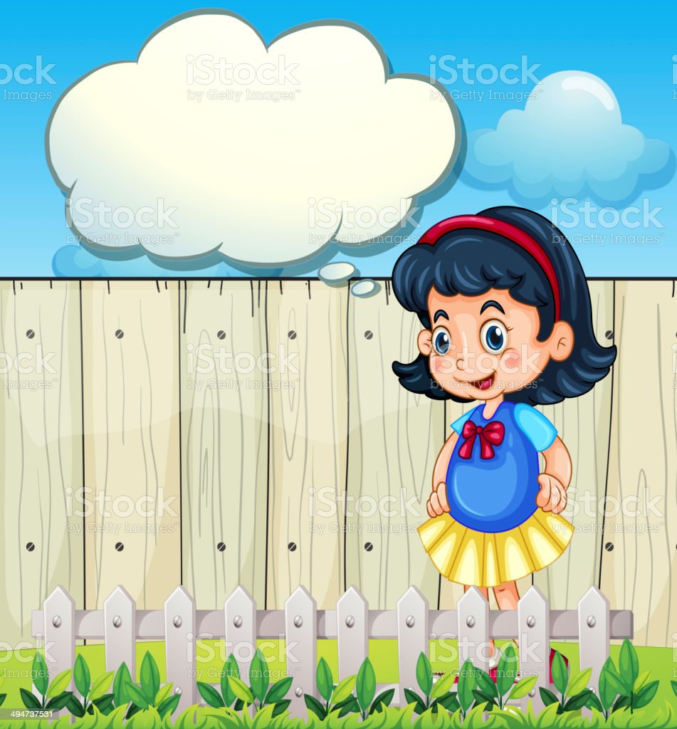 Young girl at the backyard with an empty callout royalty-free stock vector art