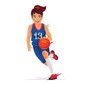 Young girl basketball player