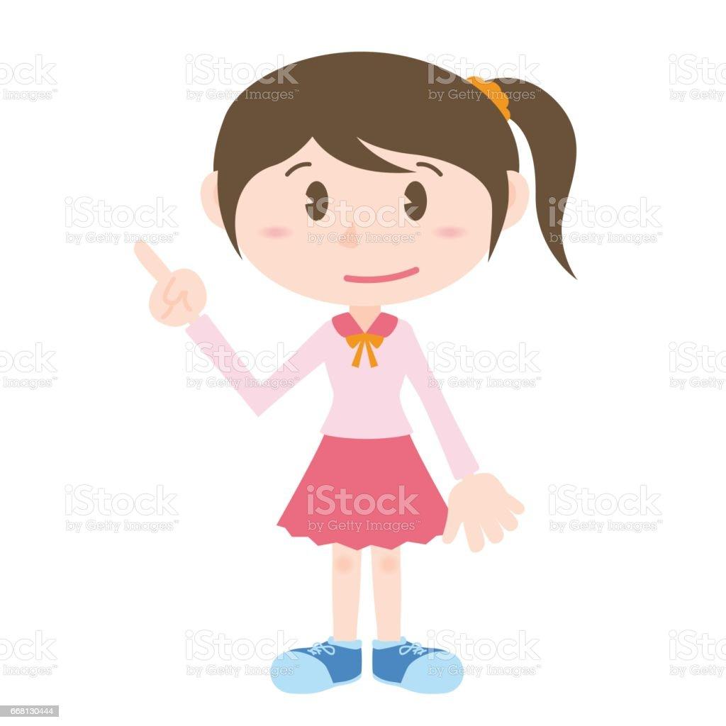 Personnage De Dessin Anime De Jeune Fille Pointant Main Signe Clipart Vecteurs Libres De Droits Et Plus D Images Vectorielles De Adulte Istock
