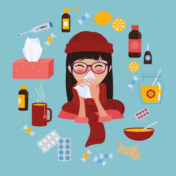 junges mädchen erwischt kalte grippe oder virus. behandlung von krankheiten - krankheit stock-grafiken, -clipart, -cartoons und -symbole