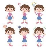 young girl character various feeling clip art set, vector illustration