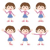young girl character various pose clip art set, vector illustration