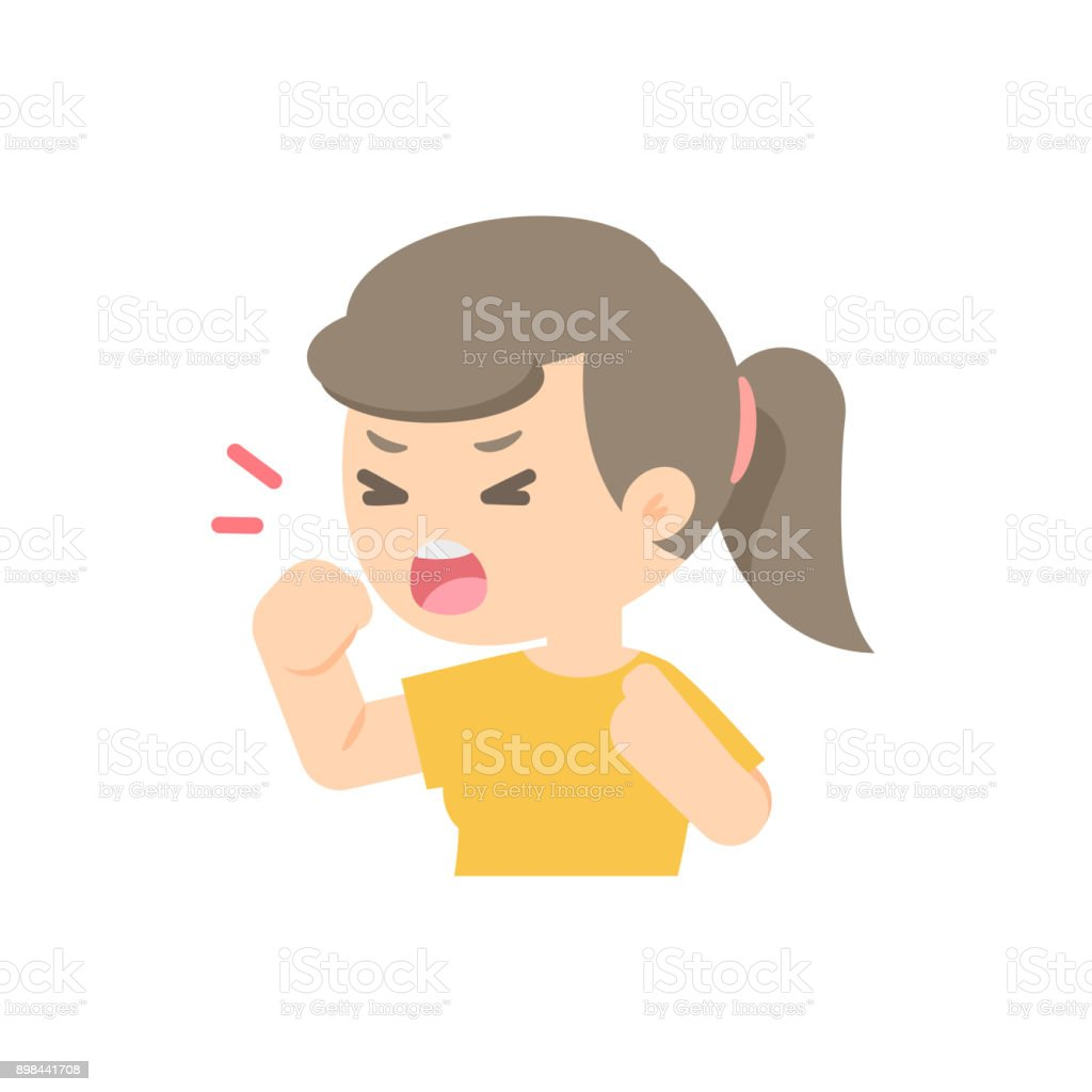 young girl coughing, sickness allergy concept, Vector flat illustration. vector art illustration