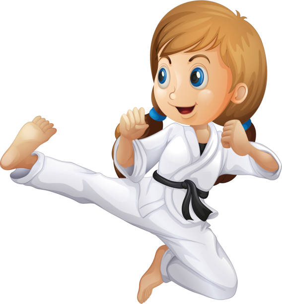 young girl doing karate - martial arts stock illustrations