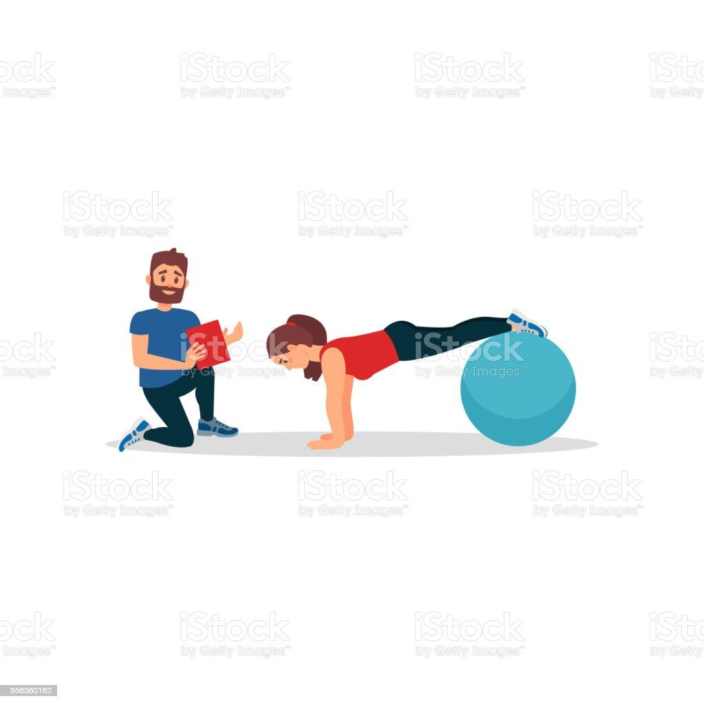 Ilustración de Chica Joven Haciendo Tabla Ejercicio Usando La Bola ...