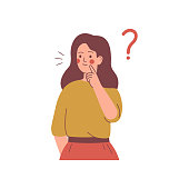 istock Young girl doubts and has a question. Flat cartoon vector illustration. 1257186902