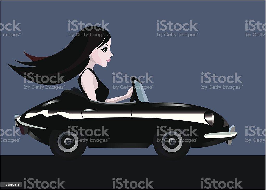 young girl driving a convertible sport car royalty-free stock vector art