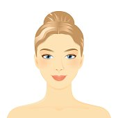 Young girl face. Smiling woman portrait with sleek hair and a bun. Dark hair. Clean skin, cosmetics concept, fresh healthy face, beautiful model. Graphic design element for spa or beauty salon poster