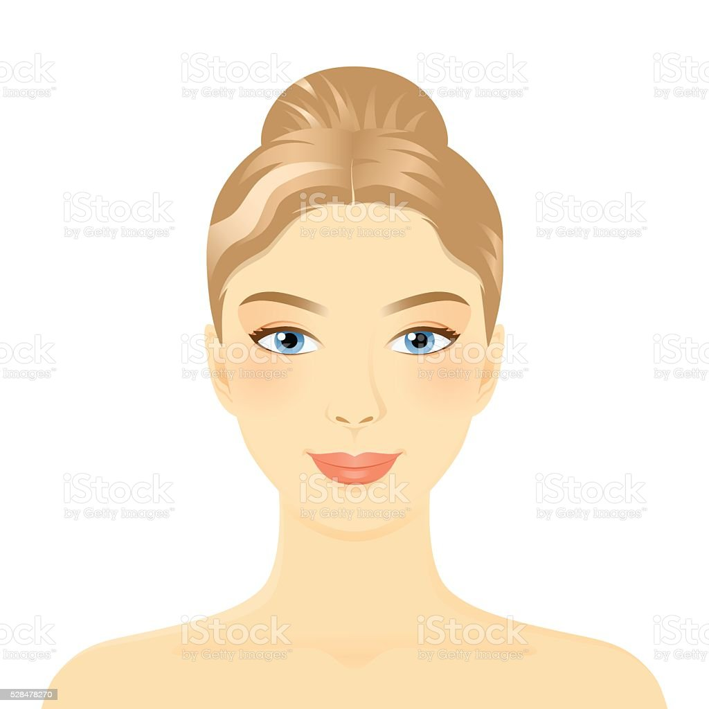 Young girl face vector art illustration