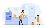 istock Young girl helping her mom to clean kitchen 1270347603