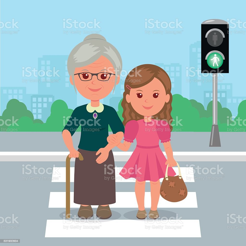 Young girl helps old woman to cross the road. vector art illustration
