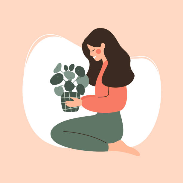 Young girl holds potted green plant Young girl holds potted green plant. Concept of love and care of home flowers. Vector urban gardening stock illustrations