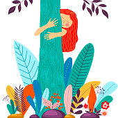 Young girl hugging tree. Eco friendly, environment preservation concept. Harmony with nature, nature love design. Vector illustration in cartoon flat style, eps 8