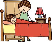 Young girl in bed with mother stood next to her.