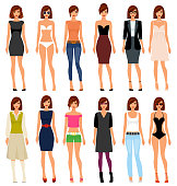 A young girl in different clothes and hair. Vector illustration